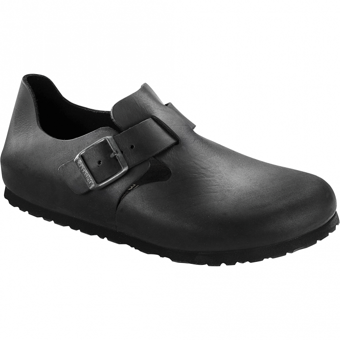 Birkenstock London Shoe Oiled Leather Black 166543, closed toe design with side buckle