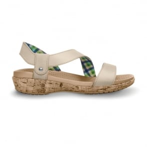 Crocs A-Leigh Leather Sandal Stucco, Leather slip on sandal, Croslite footbed and cork outsole