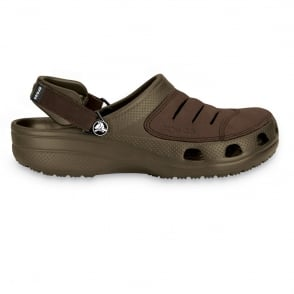Crocs Yukon Shoe Chocolate, A leather topped croslite clog