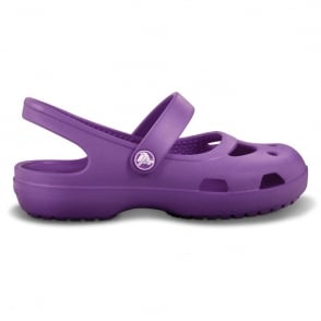 Crocs Girls Shayna Dahlia, Stylish sling-back flat with room for jibbitz