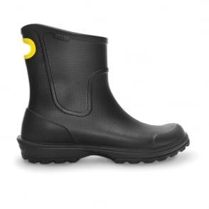 Crocs Mens Wellie Rain Boot Black, Mid height Croslite boot with pull on handle