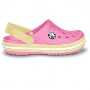 Crocs Kids Crocband Shoe Pink Lemonade/Buttercup, All the comfort of a Classic but with a Retro look