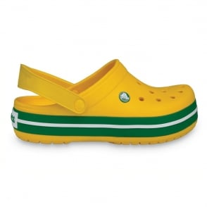 Crocs Kids Crocband Shoe Yellow/Kelly Green, All the comfort of a Classic but with a Retro look
