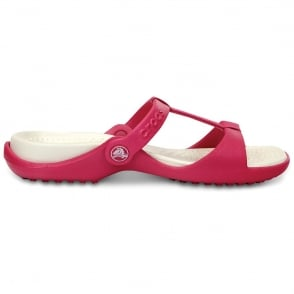 Crocs Cleo III Raspberry/Oyster, Croslite t-strap slide, perfect summer sandal
