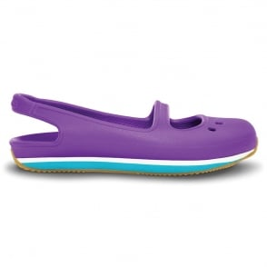 Crocs Girl's Retro Mary Jane Neon Purple/Surf, sling back pump style shoe