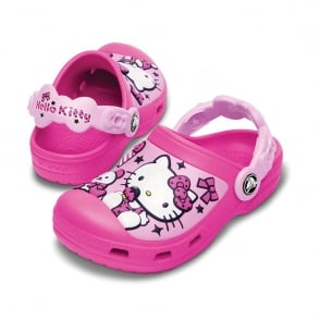 Crocs Kids Hello Kitty Creative Clog Candy & Ribbons Neon Magenta/Carnation, fully moulded Hello Kitty design