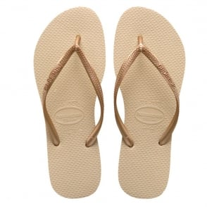 Havaianas Slim Sand Grey/Light Golden, Slender Flip Flops