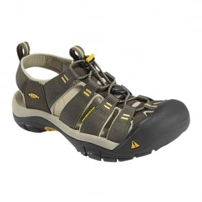 Mens Newport H2 Raven/Aluminum, the original KEEN sandal with waterphobic technology