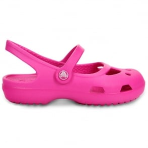 Crocs Girls Shayna Neon Magenta, Stylish sling-back flat with room for jibbitz