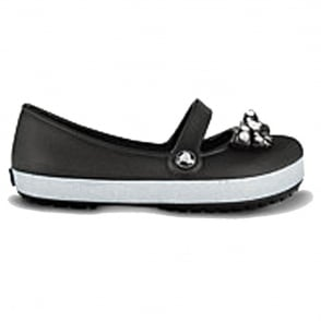 Crocs Girls Genna CrocBling Black, Slip on ballet flat style shoe