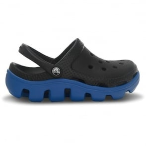 Crocs Kids Duet Sport Clog Black/Sea Blue, slip on shoes with durable off road sole