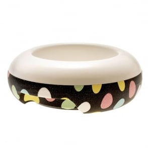 United Pets ET Temperature Food Bowl Small Black Spotty, Keep food cool or warm