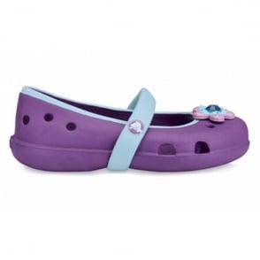 Crocs Girls Keeley Dahlia/Sky Blue, Slip on ballet flat style shoe
