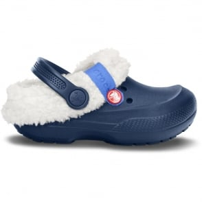 Crocs Kids Blitzen II clog Navy/Oatmeal, easy to remove liner
