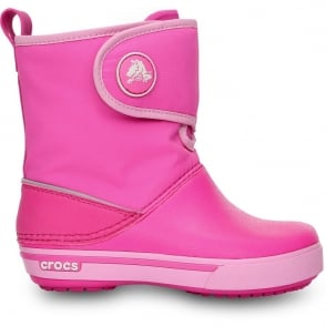 Crocs Kids Crocband II.5 Gust Boot Neon Magenta/Carnation, Water resistant nylon upper with velcro adjustable shaft