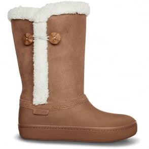 Crocs Modessa Suede Button Boot Bronze/Oatmeal, Buffed, casual, relaxed style with a more modern, streamlined fit