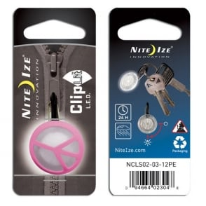 Nite Ize ClipLit Pink Peace, Bright LED light and built-in carabiner