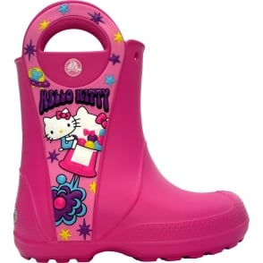 Crocs Kids Hello Kitty Candy Blast Rain Boot Fuchsia, Waterproof rain boot with easy on/off handles
