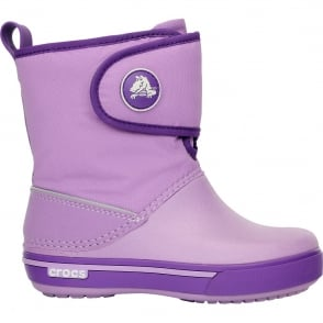 Crocs Kids Crocband II.5 Gust Boot Iris/Neon Purple, Water resistant nylon upper with velcro adjustable shaft