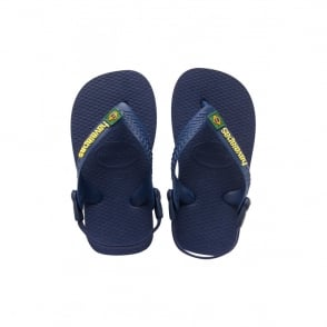 Havaianas Baby Brasil Logo Navy Blue, the original flip flop with elastic back strap