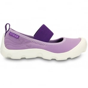Crocs Girls Duet Busy Day Mary Jane (Childrens) Iris/Neon Purple, Stretchy neoprene upper for a comfortable fit