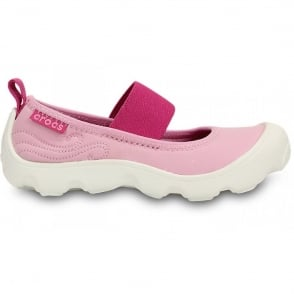 Crocs Girls Duet Busy Day Mary Jane (Childrens) Carnation/Fuchsia, Stretchy neoprene upper for a comfortable fit