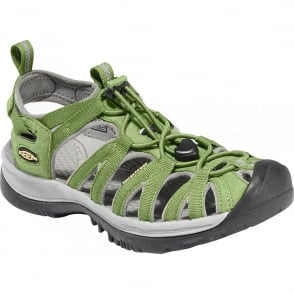 KEEN Womens Whisper Jade Green/Neutral Gray, a narrow version of the orignal sandal with toe bumper