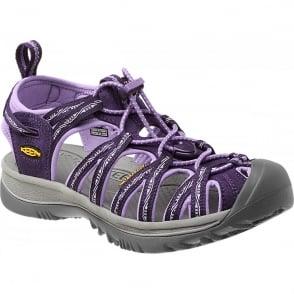 KEEN Womens Whisper Blackberry/Bougainvillea, a narrow version of the orignal sandal with toe bumper