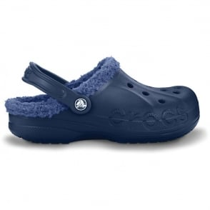 Crocs Baya Lined Navy/Bjijou Blue, Fully molded Croslite shoe with fixed fuzzy liner