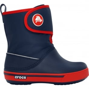 Crocs Kids Crocband II.5 Gust Boot Navy/Red, Water resistant nylon upper with velcro adjustable shaft