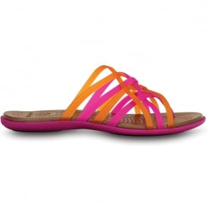 Crocs Womens Huarache Flip Fuchsia/Bronze, Comfortable playful, strappy flip