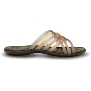 Crocs Womens Huarache Flip Bronze/Espresso, Comfortable playful, strappy flip