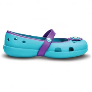 Crocs Girls Keeley Petal Flat Surf/Neon Purple, Slip on ballet flat style shoe