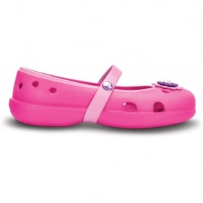 Crocs Girls Keeley Petal Flat Neon Magenta/Carnation, Slip on ballet flat style shoe