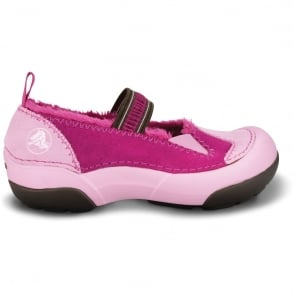 Crocs Kids Dawson Mary Jane Bubblegum/Berry, warm fuzzy upper combined with a croslite material footbed