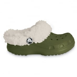 Crocs Kids Mammoth Army Green/Oatmeal, fully molded croslite shoe with a fuzzy liner