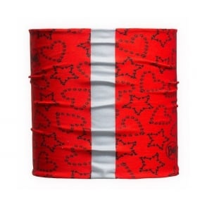 Dog Buff 2014 Hearts & Stars Red (M/L), Neckwear with reflective strip