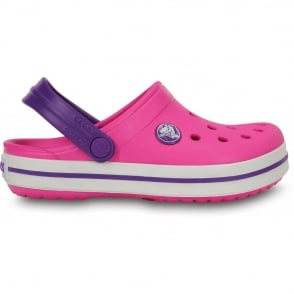 Crocs Kids Crocband Shoe Neon Magenta/Neon Purple, All the comfort of a Classic but with a Retro look