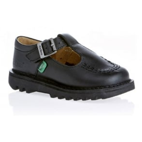 Kickers Kick T Bar Infant Leather Black, Girls leather school shoe