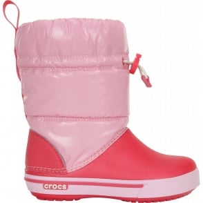 Crocs Kids Iridescent Crocband Gust Boot Ballerina Pink/Poppy, Water resistant nylon upper with shimmer