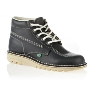 Kickers Kick Hi Mens Navy/Natural, Leather lace up boot