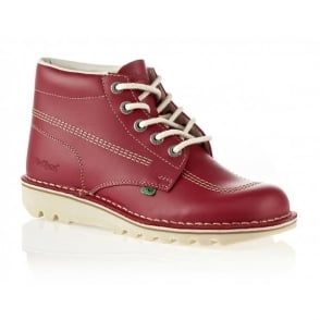 Kickers Kick Hi Mens Red/Natural, Leather lace up boot