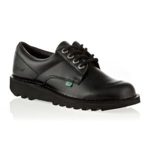 Kickers Kick Lo Youth Black, Leather lace up shoe