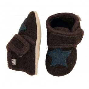 Melton Wool Shoe Star 485 Brown, Soft and comfortable indoor shoe