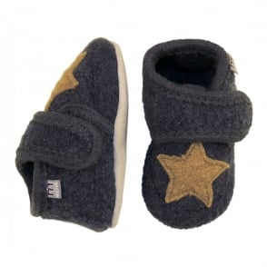 Melton Wool Shoe Star 189 Antrazite, Soft and comfortable indoor shoe