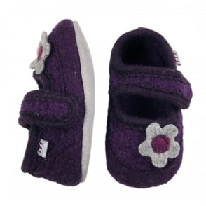 Melton Wool Shoe Flower 750 Dark Purple, Soft and comfortable indoor shoe
