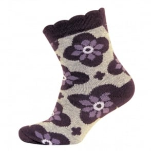 Melton Baby Sock Bubble Dianthis 731 Dusty Purple, Wave-shaped cuff for an irresistible look