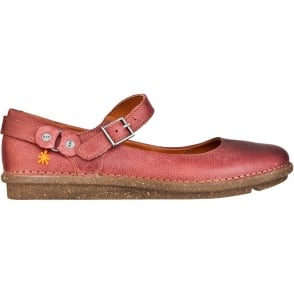 The Art Company I Dance 0963 Flat Amarante, Ladies leather Flat with strap