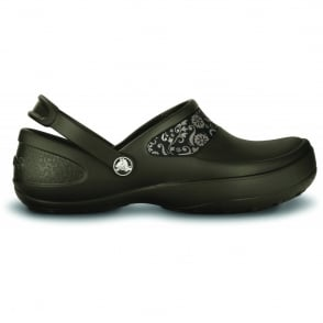 Crocs Mercy Work Espresso/Mushroom, Fully molded Croslite clog, with Lock non slip soles and back strap