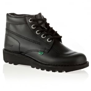 Kickers Kick Hi Womens Black, Leather lace up boot
